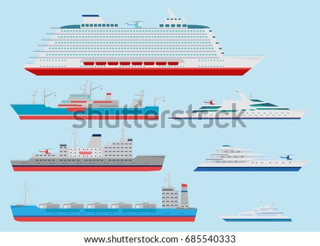Flat Ocean Cruise Liner Cargo Ships And Yacht Icon Set Side View