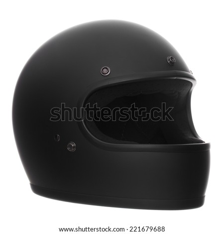 flat or matte black full face motorcycle helmet isolated on a white background - stock photo