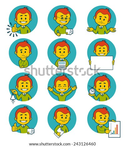 Flat people icons with business characters.  illustration. - stock photo