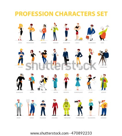 Flat people portraits collection isolated on white background. Social icons, personality characters group. Cartoon style. Business illustration. Happy, cheerful people avatar design. Emotions.