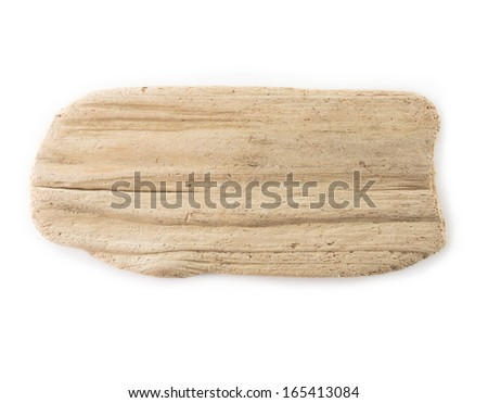 Flat piece of driftwood isolated on white.  - stock photo