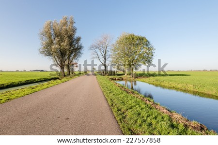 Flat polder landscape in the Netherlands with ditches on both sides of the road on a sunny day in the autumn season. - stock photo