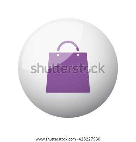 Flat purple Shopping Bag icon on 3d sphere