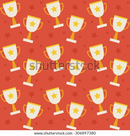 Flat Raster Seamless Pattern Sport Competition Trophy Winning. Flat Style Texture Background. Sports and Recreation. First Place. Award with Star. Cup with Gold Star - stock photo