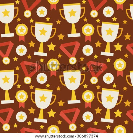 Flat Raster Seamless Pattern Sport Competition Trophy Winning with Medal. Flat Style Texture Background. Sports and Recreation. First Place. Award with Star. Cup with Gold Star - stock photo