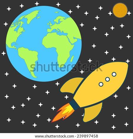 Flat Retro cartoon Rocket Spaceship to the Moon. illustration.  - stock photo