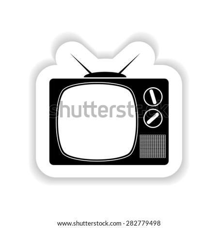 Flat retro tv on a white background with shadow - stock photo