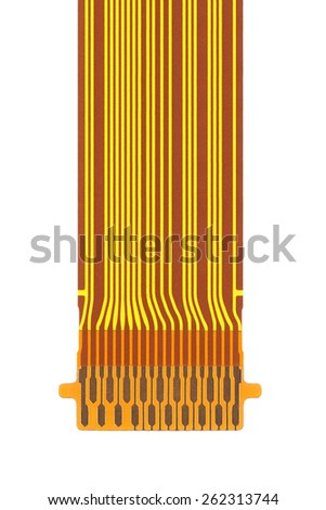 flat ribbon cable on a white background - stock photo