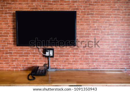Flat Screen Television Hanging Brick Wall Stock Photo (Edit Now ...