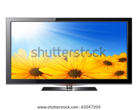 Flat screen tv lcd, plasma realistic illustration. - stock photo