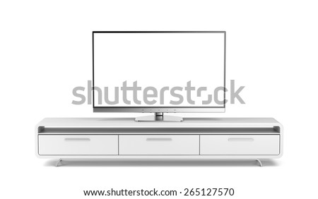 Flat screen tv on modern tv stand - stock photo