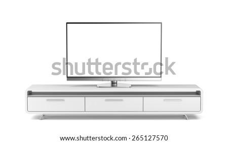 Flat screen tv on modern tv stand - stock photo