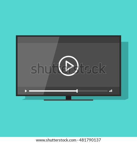 Flat screen tv with video player button illustration, concept of movie watching, television online cinema, theater, digital entertainment, video streaming technology image