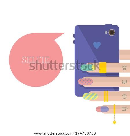 Flat selfie, colorful - stock photo