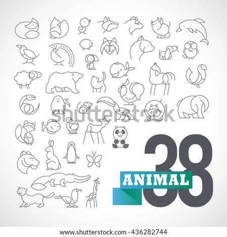 Flat simple minimalistic animal logo set. Animal, bird icon, mammal animal sign, symbol isolated on white background. Nature park, national zoo, pet shop logo, animal food store logo. - stock photo