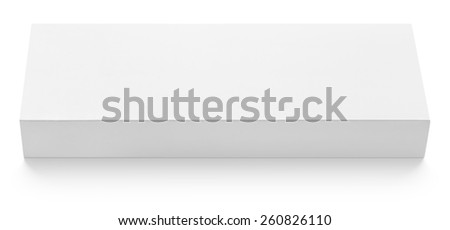 Flat slim paper or cardboard box template for chocolate isolated on white background - stock photo