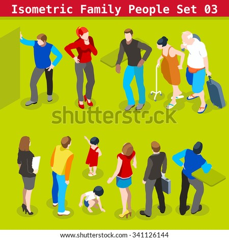 Flat style family Set. Young and Adult People in casual clothes. Illustration elements for impressive Infographics. 3D Isometric Men and women in realistic poses - stock photo