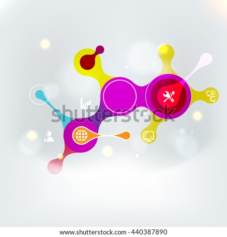 Flat Style Icons Set. Mobile and Information Technologies and Services, Web and Business Elements. Cloud Idea Concept. Raster copy - stock photo