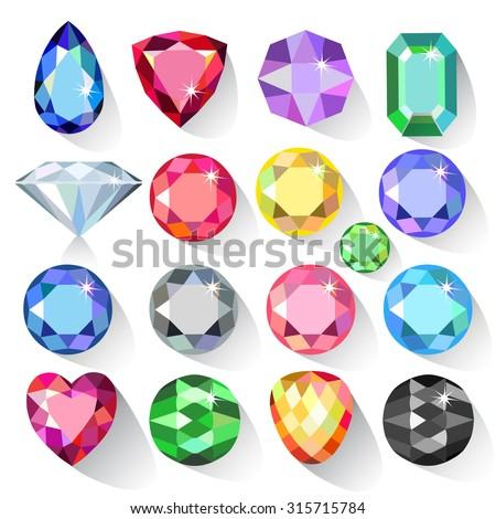 Flat style long shadow set of colored gems isolated on white background