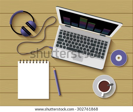 Flat Style Modern Design of Office Workplace. Top View of a Table with Note Paper, Laptop, Headphones and Coffee Cup. Working or studying concept