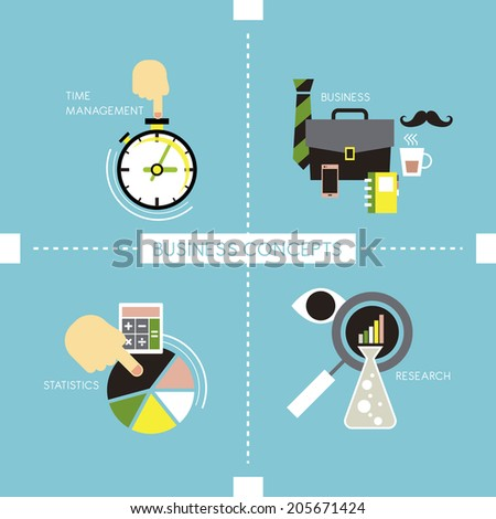 flat style of time management, business, statistics and research concepts