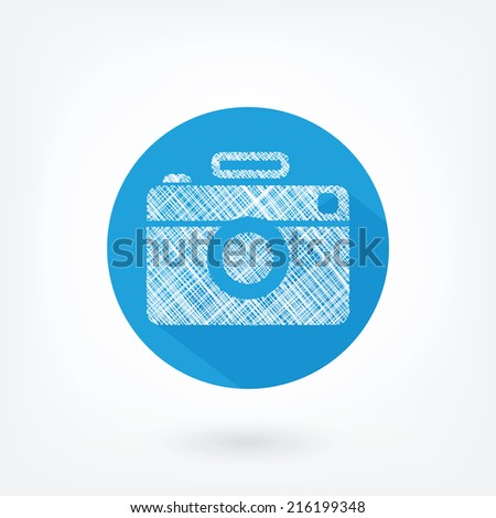 Flat styled and doodled icon of film camera. Hipster camera, like icon in blue circle with flash and long shaddow. - stock photo