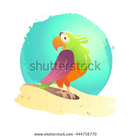 Flat summer cartoon bird illustration. Sea coast, sand, sky. Bright colored cheerful friendly cute parrot standing on sand. Exotic bird portrait. Summer postcard, advertising, poster. - stock photo