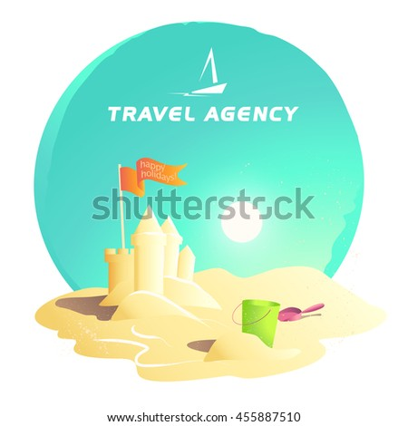 Flat summer holiday illustration. Travel agency company logo insignia. Boat, ship, yacht icon. Cartoon style. Sea rest accessory. Season advertising backdrop. Flayer, banner, poster card design - stock photo