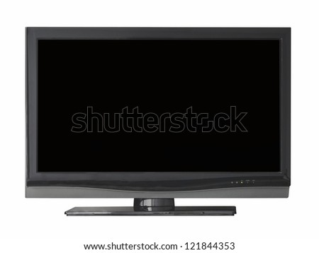 Flat television isolated from white