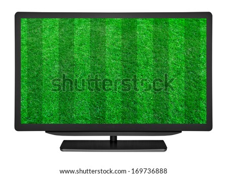 flat television on the football field grass backgrounds - stock photo