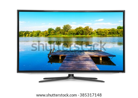 flat television on the white backgrounds. 4k monitor - stock photo