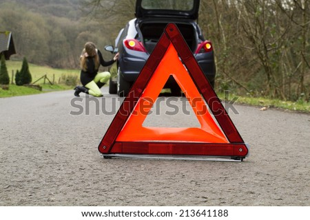 Flat tire. - stock photo