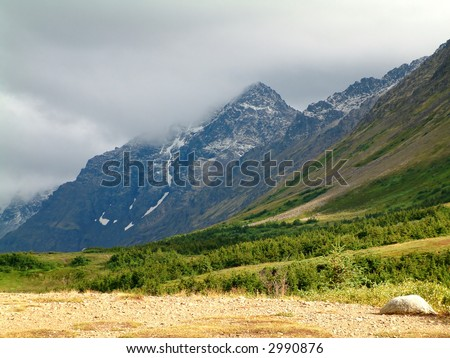 Flat top mountain, Anchorage, Alaska - stock photo