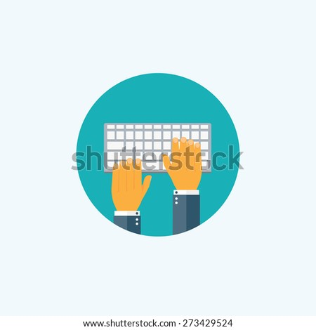 Flat typing hands. Programming and coding. - stock photo