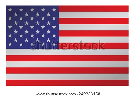 Flat U.S. flag with some shadowing. - stock photo