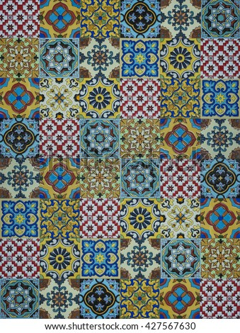 Flat view of an Arabic tile pattern. An oriental design pattern. - stock photo