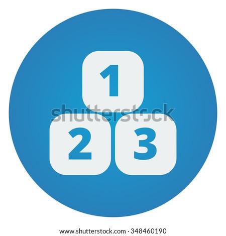 Flat white 123 Blocks icon on blue circle - stock photo