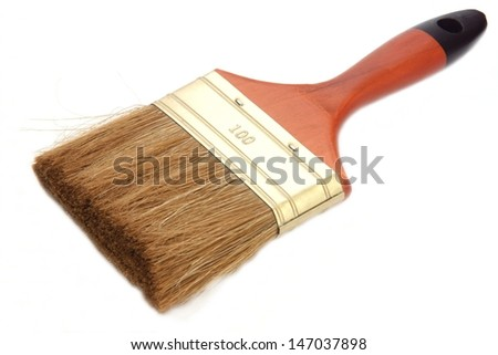 Flat wide brush for painting on a white background
