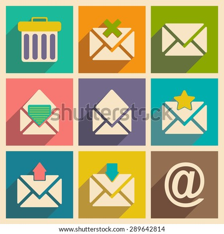 Flat with shadow concept and mobile application email icons  - stock photo