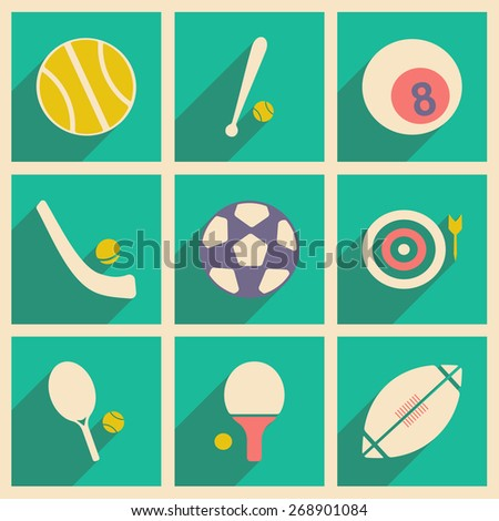 Flat with shadow concept and mobile application sports icons - stock photo
