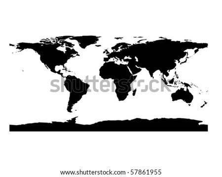 Flat world map black white stock illustration 57861955 shutterstock flat world map in black and white gumiabroncs Image collections