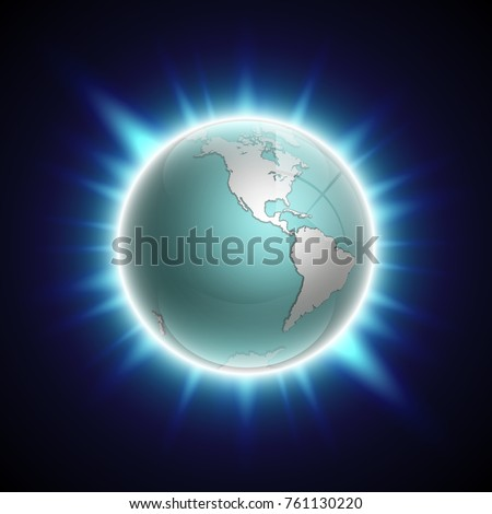 Vector world map rising sun globe stock vector 581592325 flat world map with pacific ocean on the globe planet earth background all the gumiabroncs Choice Image