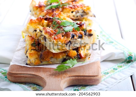 Flatbread with courgette and aubergine with cheese