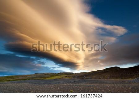 Flatland near Jokulsarlon, South Iceland - stock photo
