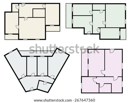 flats scheme, view from above - stock photo