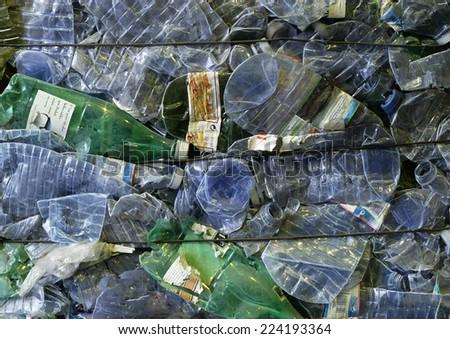 Flattened plastic bottles - stock photo