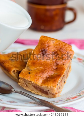 flavored pudding cake with apricot jam and orange zest, baking - stock photo