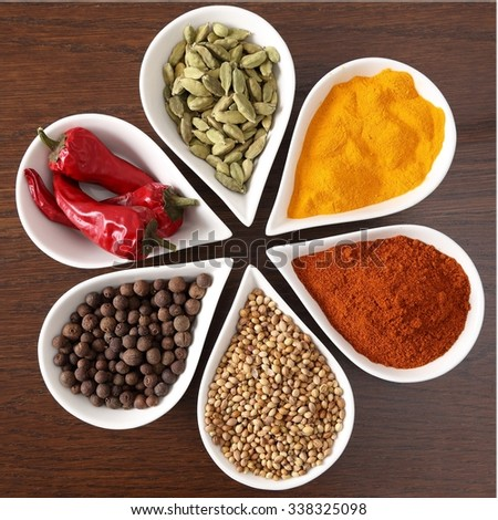 Flavorful, colorful spices in metal and ceramic bowls on dark wooden background. - stock photo
