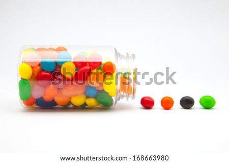 flavors of fruits and colors candy jar - stock photo