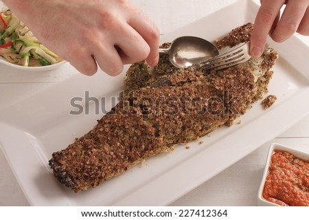 flavoured salt crust  baked sea bass